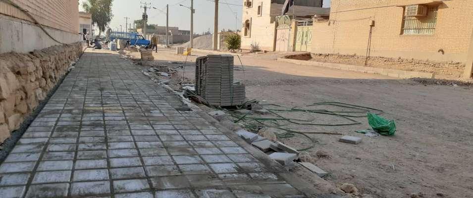 کفپوش گذاری و احداث پیاده رو خیابان صداقت توسط شهرداری خرمشهر