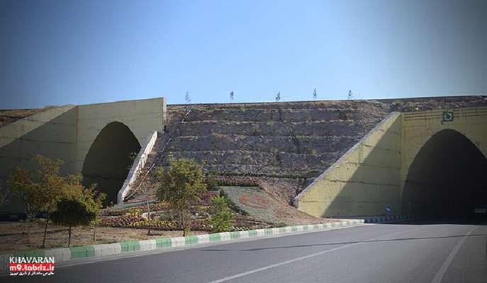 تراس بندی و گلکاریهای فصلی پیرامون تونلهای دوقلوی خاوران