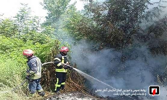 هشدار سازمان آتش نشانی رشت نسبت به ایمنی در برابر وزش باد گرم و آتش سوزی علفزارها/ آتش نشانی رشت