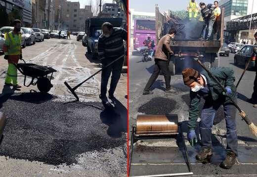 چاله زدایی کوی شهید والایی در خیابان مارالان و کوی فرهنگ در خیابان امام