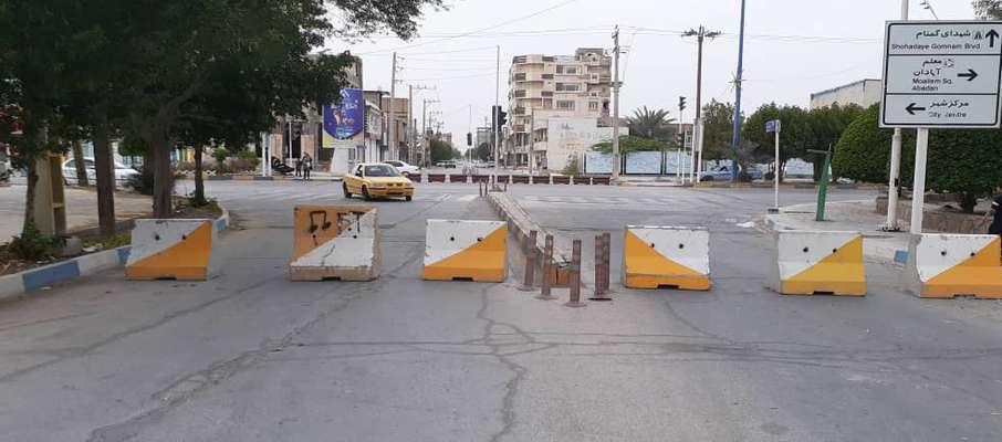 ورودی پارکها و مسیرهای منتهی به بلوار ساحلی توسط شهرداری خرمشهر مسدود شد