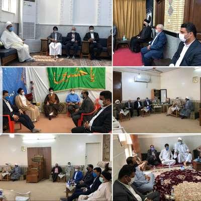 ديدار عيدانه شهردار خرمشهر به همراه اعضا شوراى شهر با علما و مراجع مذهبى