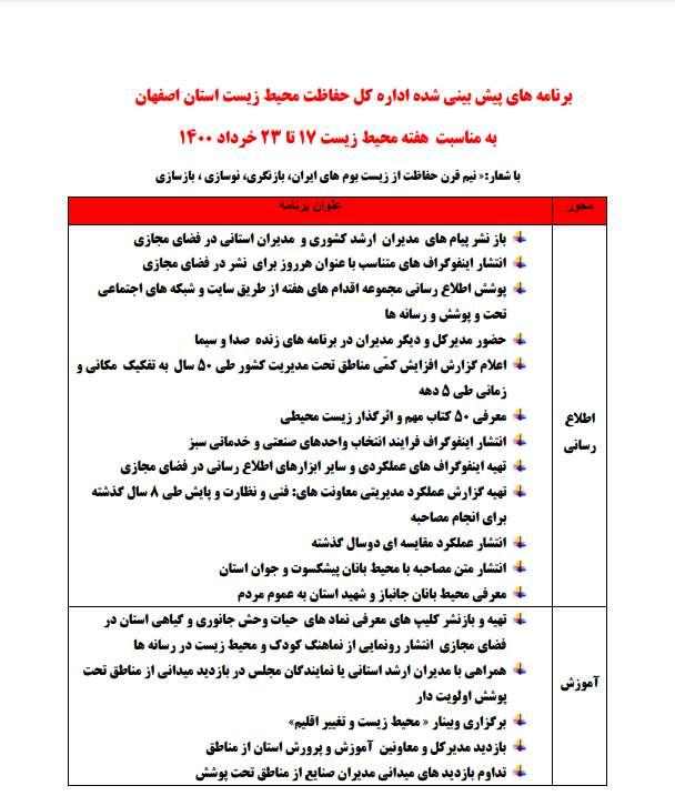اعلام برنامه های اداره کل حفاظت محیط زیست استان اصفهان به مناسبت هفته محیط زیست 17 تا 23 خرداد 1400
