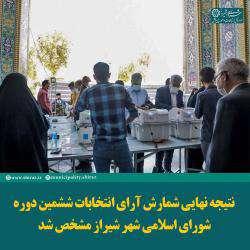 اسامی ۱۳ نفر برگزیده شورای ششم اسلامی شهر شیراز مشخص شد.