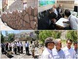 بازدید مدیرکل بنیاد مسکن استان از اجرای دیوار سنگی روستای بیرق