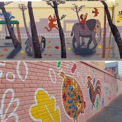 اجرای نقاشی های دیواری مدارس شهر قم با عنوان ماه مهر ماه مهربانی