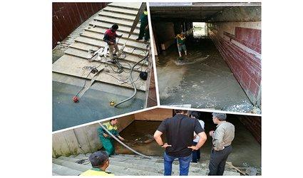 تخلیه آب زیرگذر میدان شهید قندهاری