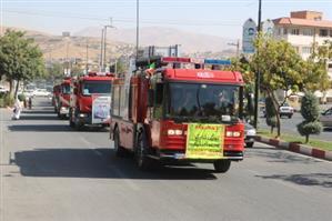 رژه ناوگان خودرویی سازمان آتش نشانی سنندح به مناسبت ۷ مهر ماه به روایت تصویر