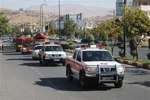 رژه ناوگان خودرویی آتش نشانی سنندج برگزار شد