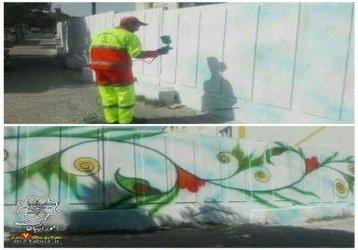 امحاء و رنگ آمیزی ۱۷۶۵ متر مربع دیوار نوشته در طرح بوی ماه مهر در محدوده منطقه ۷