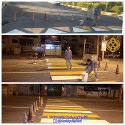 عملیات رنگ آمیزی خطوط عابر پیاده و سرعت کاهها سطح شهر