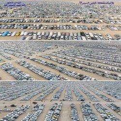 تصاویر هوایی از پارکینگ بزرگ شلمچه در اربعین حسینی با مدیریت شهرداری خرمشهر