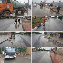 دفع آب های سطحی ناشی از بارندگی توسط خدمات شهری شهرداری خرمشهر
