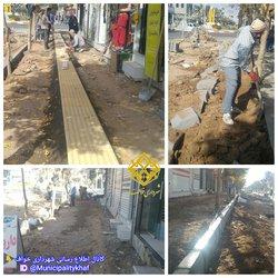 شروع عملیات جدول گذاری و پیاده رو سازی ضلع شرقی خیابان شهاب