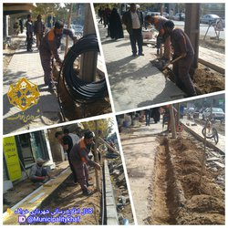 عملیات بهسازی سیستم آبیاری قطرهای ابتدای خیابان شهاب