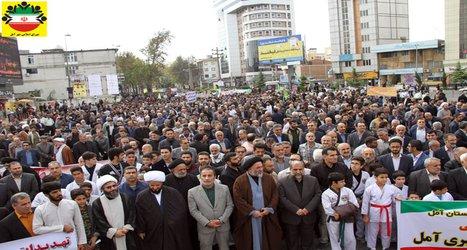 راهپیمایی باشکوه ۱۳ آبان در آمل – تصویری