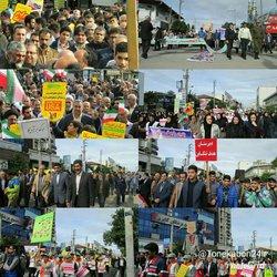 حضور شهردار ، اعضای محترم شورای اسلامی شهر و پرسنل شهرداری در راهپیمایی ۱۳ آبان