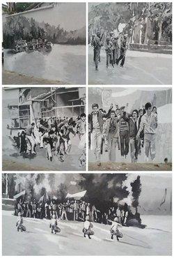 نصب المان و تصاویر شهدا در خیابان ۵ آذر به مناسبت روز ملی گرگان