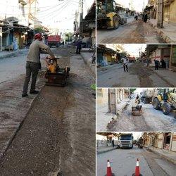 ترمیم نوار حفاری فاضلاب بازار صفا توسط شهرداری خرمشهر