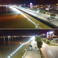 تامین روشنایی پیاده رو بلوار ساحلی امام (ره) با نصب ریسه های چراغی توسط شهرداری خرمشهر